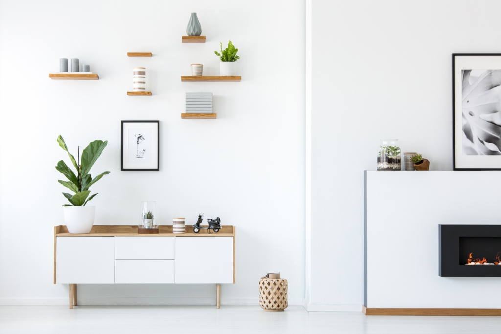 Minimalist decor illustrates the service available for minimalism design and home organization.